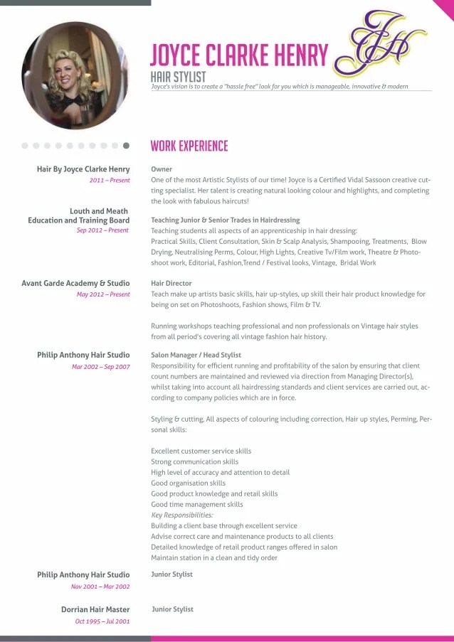 Student Hairdresser Resume – Hair Stylist CV Template