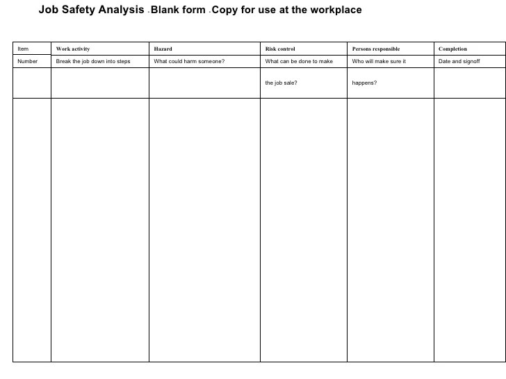 jsa form osha - Deanroutechoice - hazard analysis template