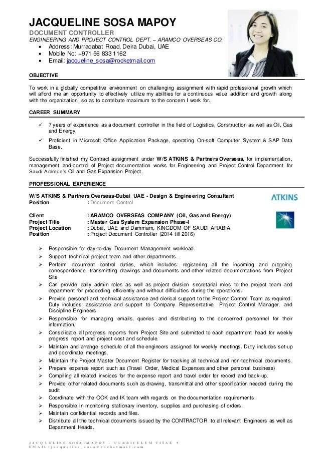 cv of a document controller professional resumes example online