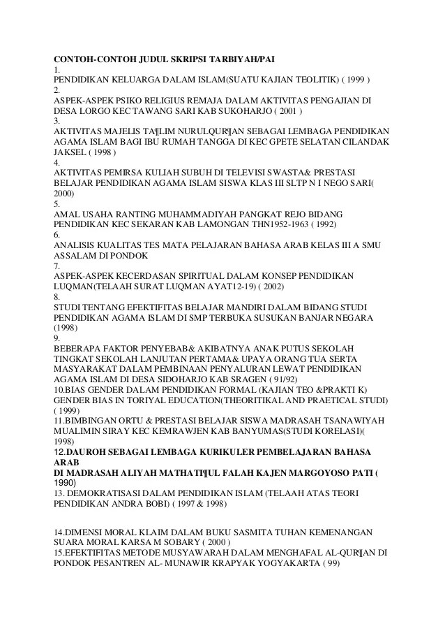 Judul Skripsi Pai 2013 Materi Kumpulan Judul Skripsi Pai Surat Penawaran Judul Judul Skripsi Pai