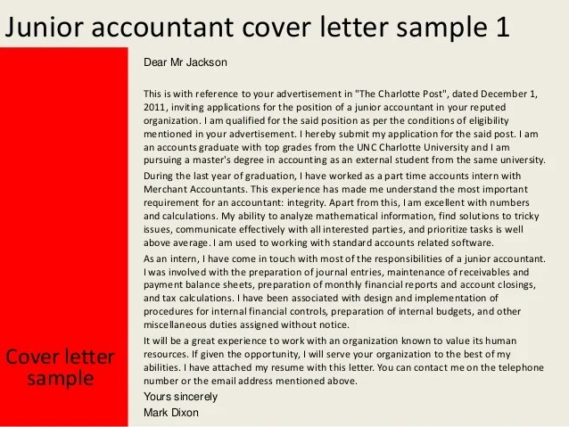 Application Letter For The Post Of Junior Accountant Cv Examples