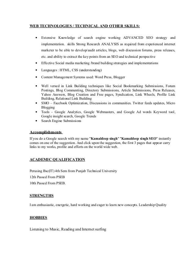 google analytics resume sample