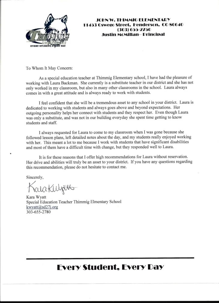 letter of recommendation for a special education teacher