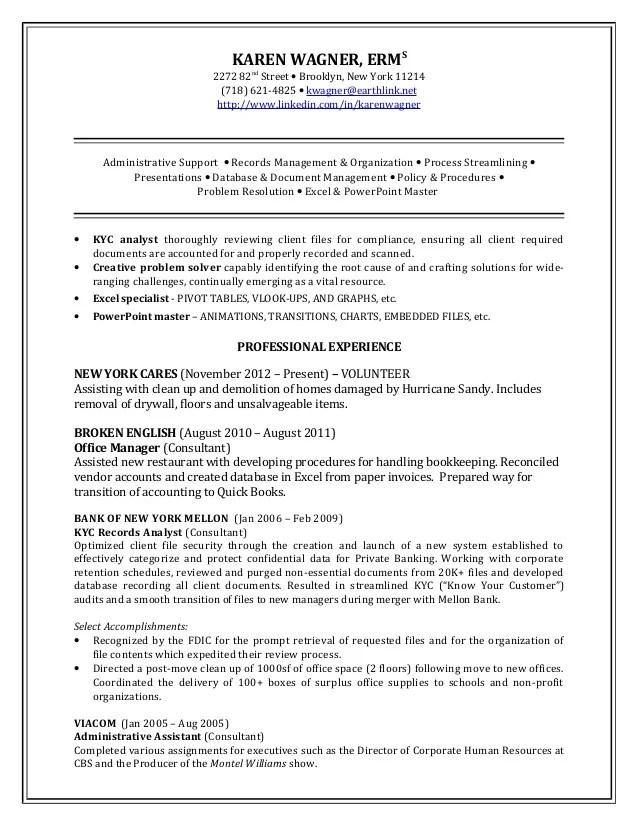 Sample Resume For Kyc | Resume Cover Letter Librarian