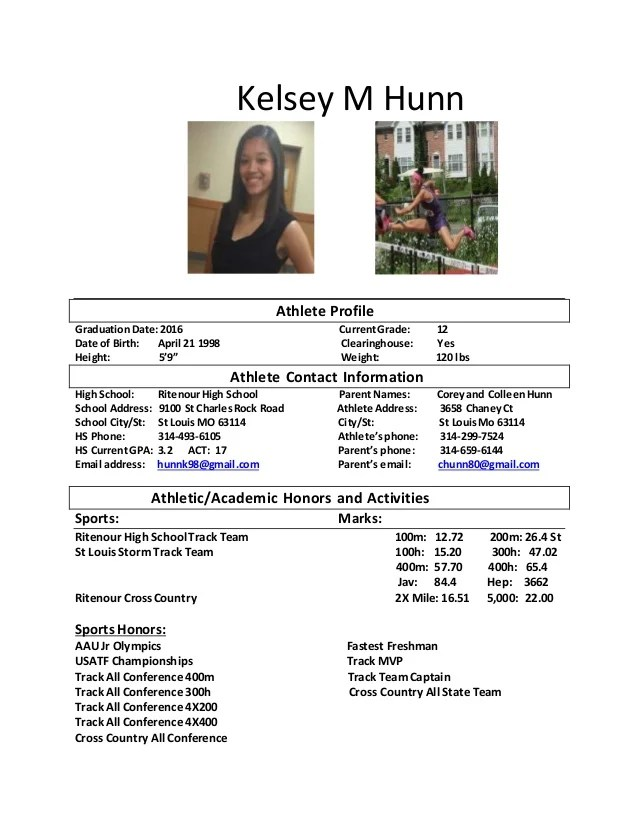 Examples Of Resume Profiles How To Write A Professional Profile Resume Genius Kelsey M Hunn Athlete Resume