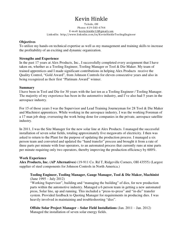 Mechanic Resume Examples Catalog Best Sample Resume Kevin Hinkle Resume