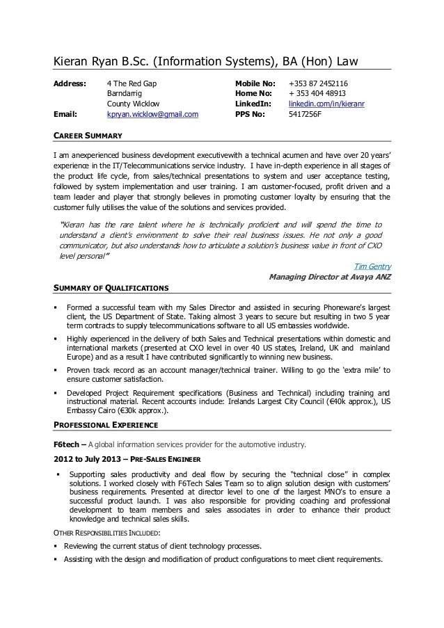 pre sale engineer resume sample