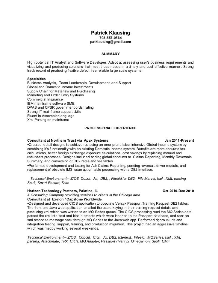 mainframe resume