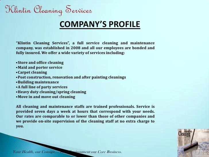 cleaning company profile sample - Vaydileeuforic