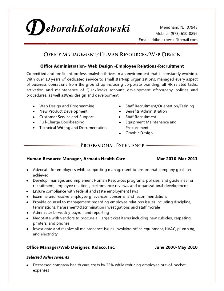 office manager resume - Apmayssconstruction