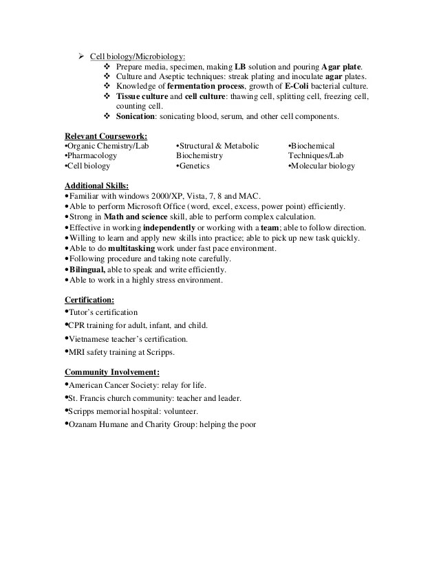 sample resume biotechnology jobs - Resume Samples For Biotech Jobs