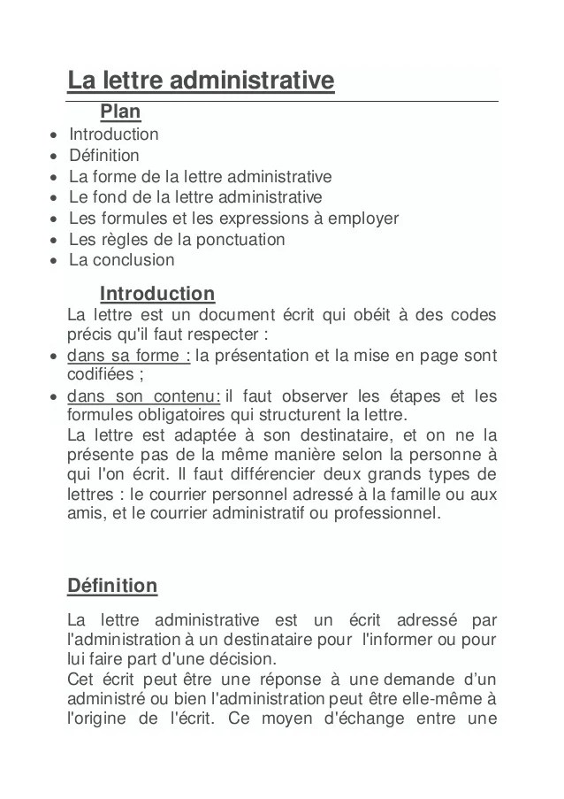 disposition de la lettre administrative