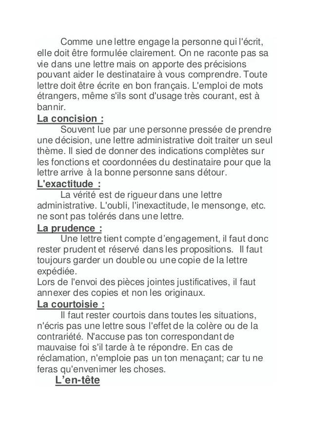 ecrire lettre en francais