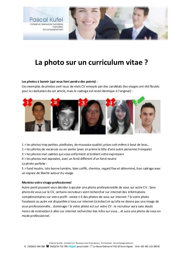 emplacement de la photo sur un cv
