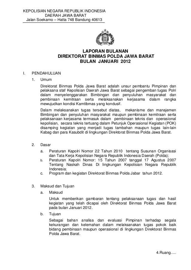 Contoh Rencana Kerja Bulanan Program Kerja Slideshare Laporan Bulanan Jan 2012 Dit Binmas Polda Jabar