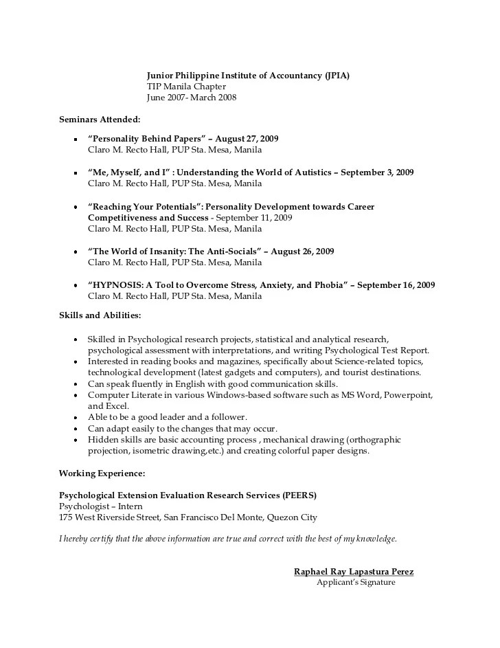 resume for psychologist - Towerssconstruction - Psychology Resume