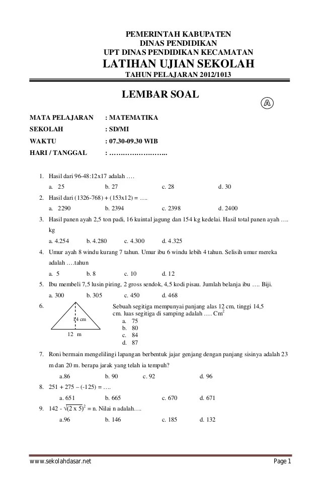 Nasional Kelas Soal Ujian 6 Matematika Movies Of Sd Watch Soal Online List Apr Latihan 2016