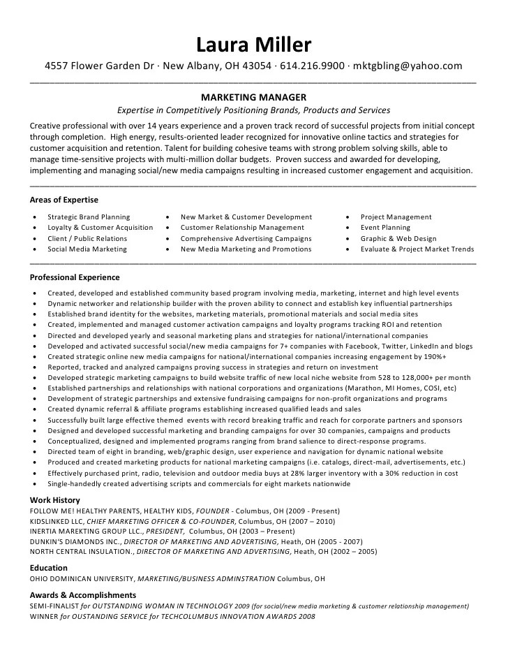 marketing professional resume samples