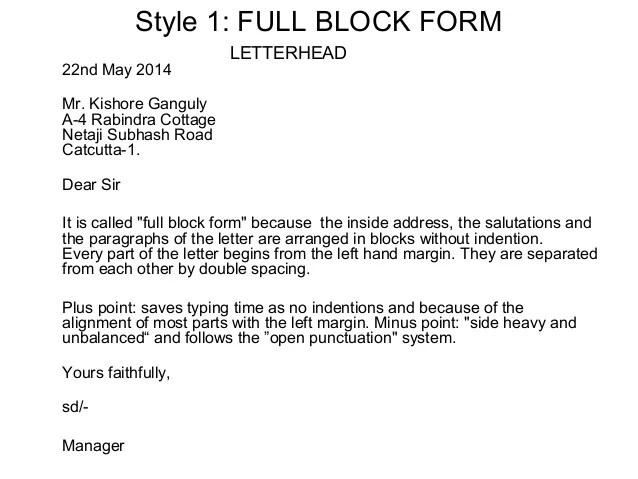 Modified Block Business Letter Dixies Guide To Business Layout Of Business Letters