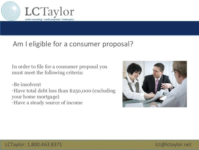 LCTaylor: Filing a Consumer Proposal in Canada
