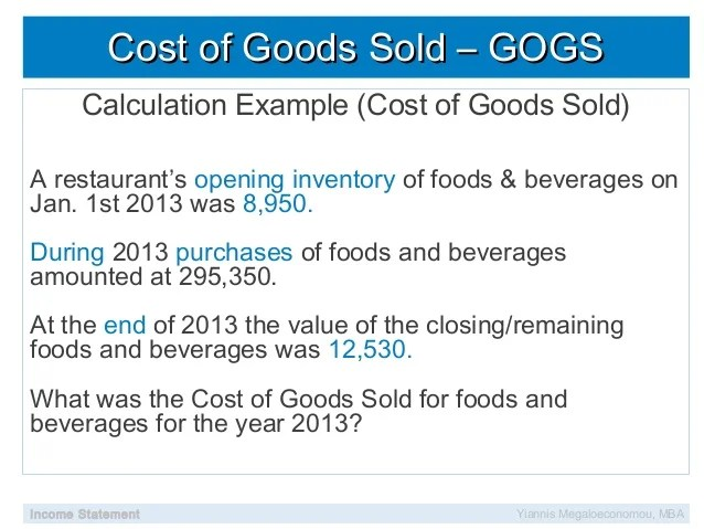 Financial analysis sales mix cogs food cost beverage cost labor cost - cost of sales analysis