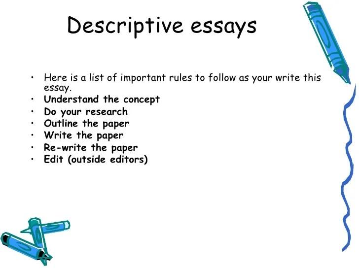 descriptive writing essays