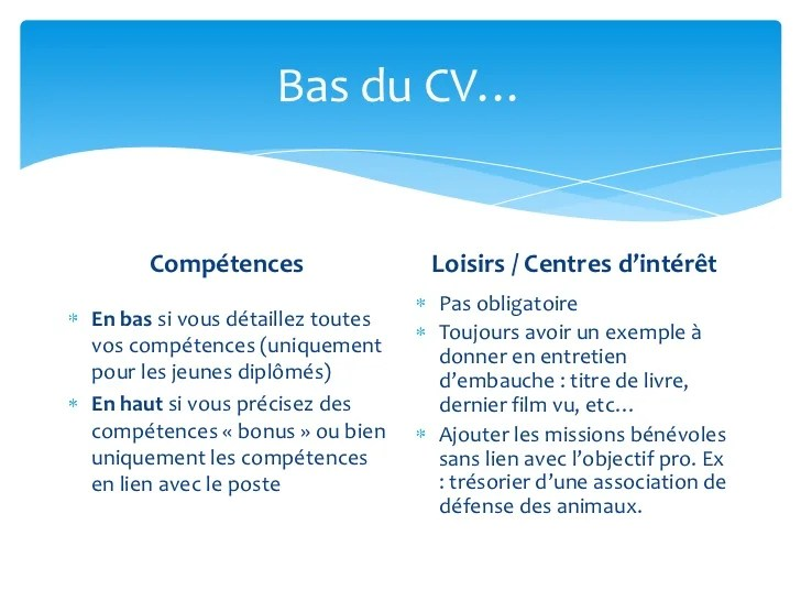 cv rubrique centre d interet exemple