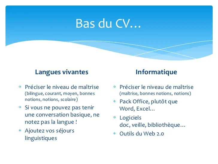 niveau langue cv notions
