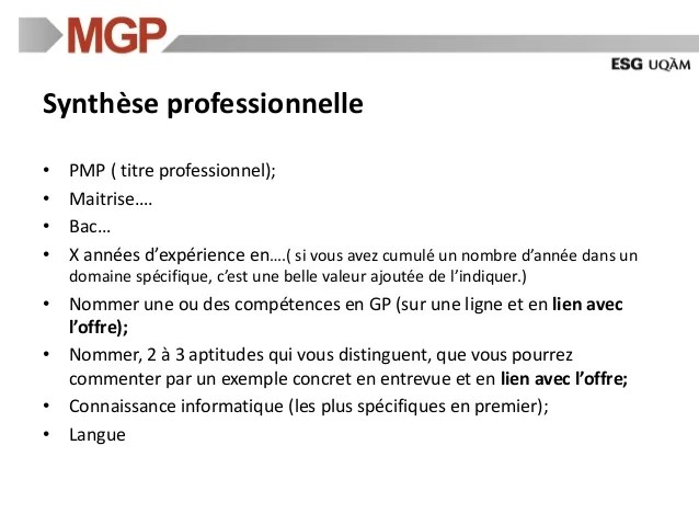 exemple synthese professionel cv