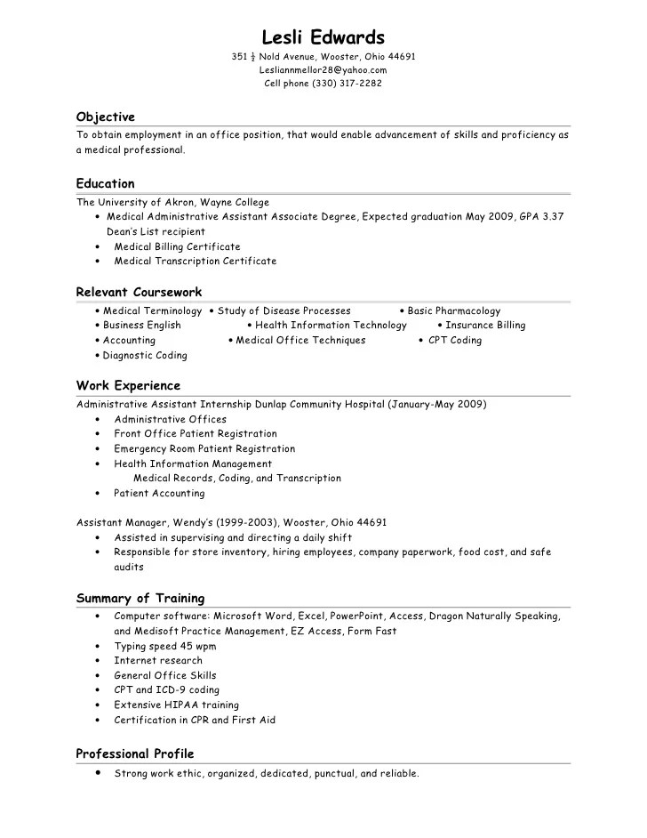 sample resume for medical billing and coding template