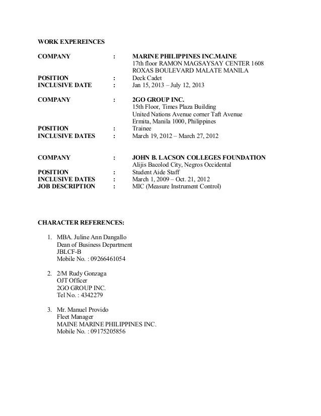 sample resume for marine transportation