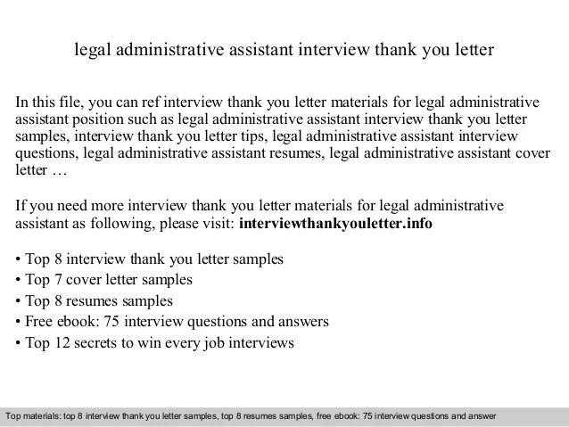 Legal Assistant Thank You Letter After Interview  Resume Layout