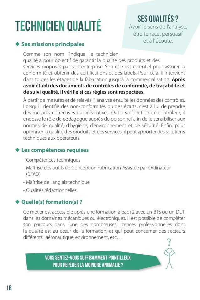 exemple de cv technicien qualite