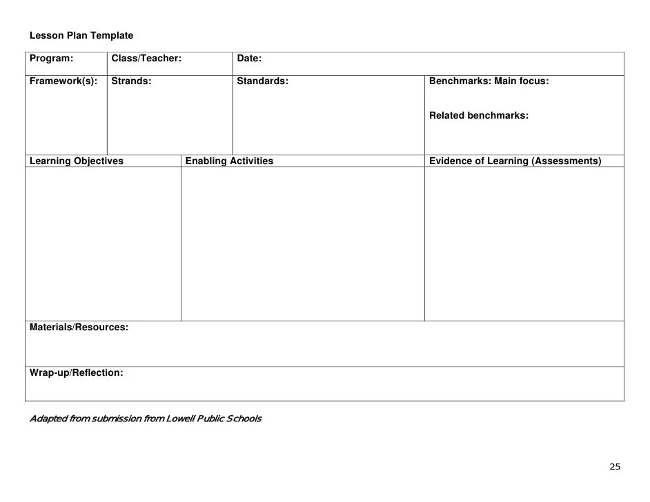 Learning Focused Lesson Plan Template Costumepartyrun
