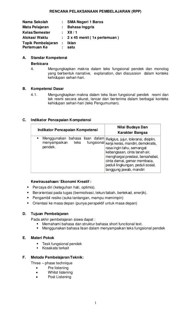 Rpp B Inggris Kls 2 Sd 6 Perangkat Pembelajaran Rpp Prota Prosem Kkm X Xi Xii Lesson Plan 3 Sampel Rpp Binggris Sma Berkarakter Kls Xii Smt1