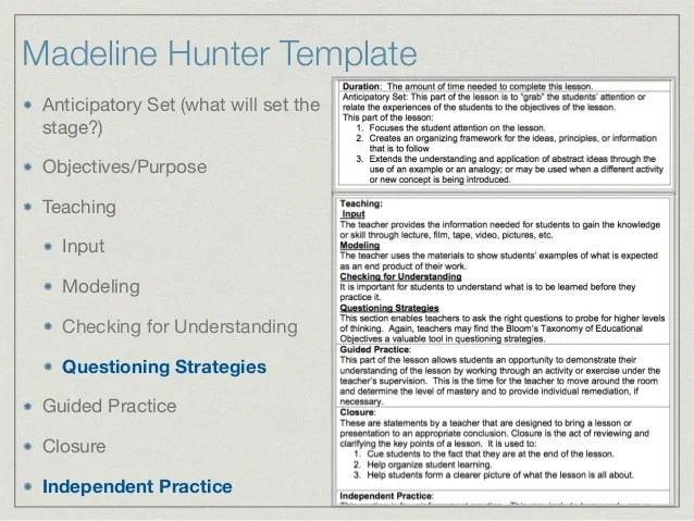 Madeline Hunter Lesson Plan Template Costumepartyrun
