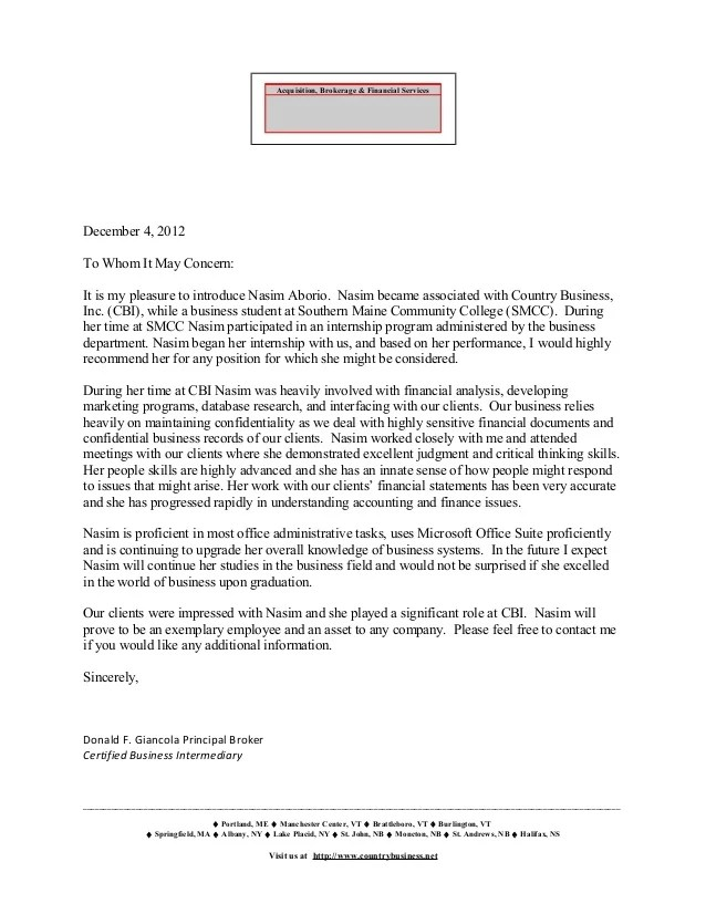 Recommendation Letter For Student By Principal | Job Application