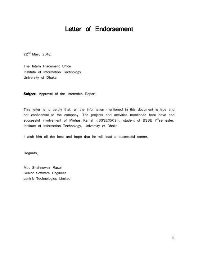 Application letter via email – Endorsement Letter for Employment