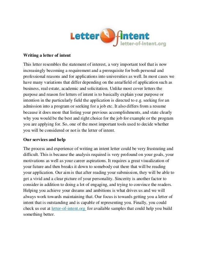 letter on intent - Erkaljonathandedecker