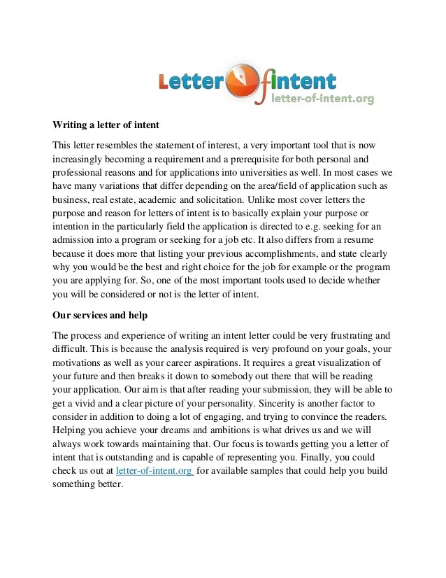 writing a letter of intent - Letter Of Intent With Resume