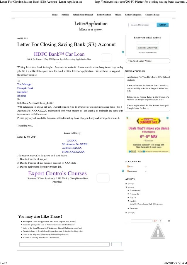 Letter For Closing Bank Account Example Good Resume Template