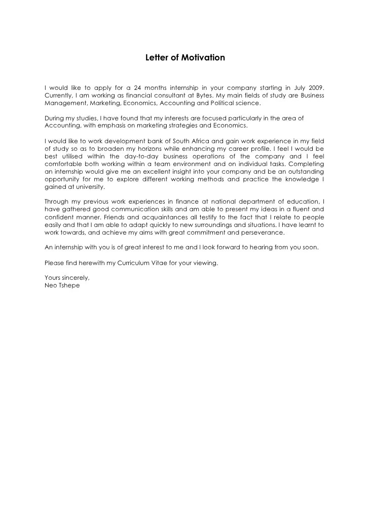 motivation letter for internship - Pinarkubkireklamowe
