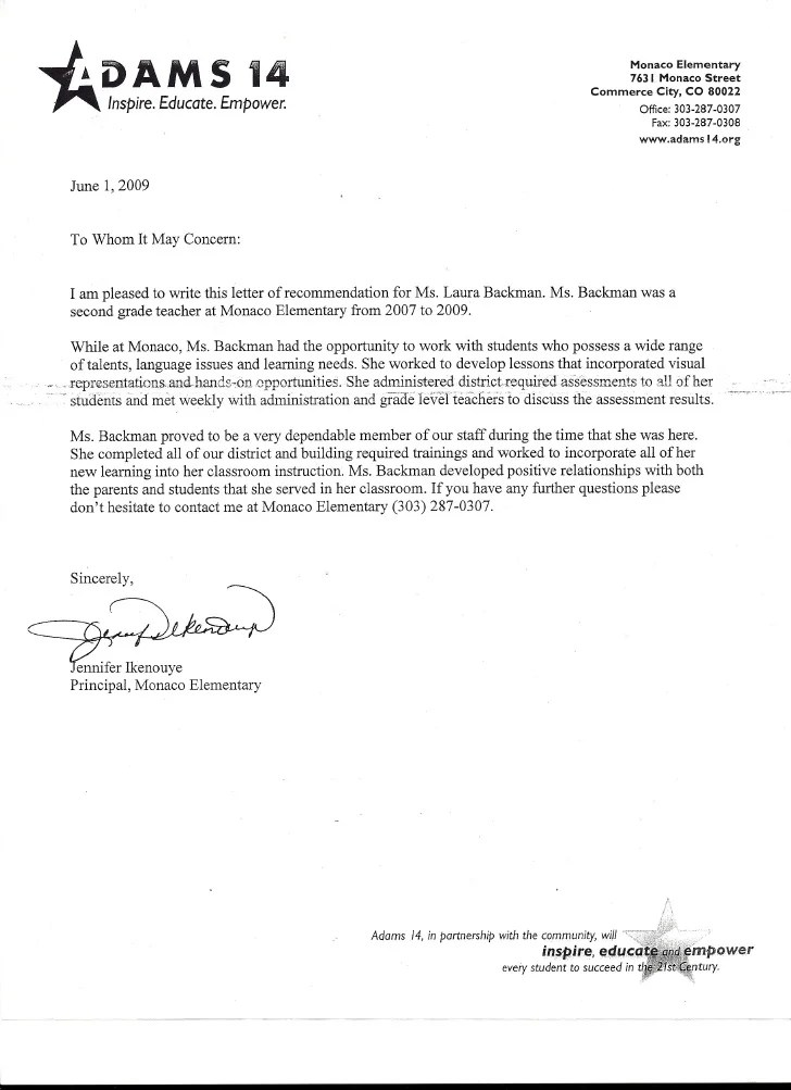 principal letter of recommendation for student - Onwebioinnovate