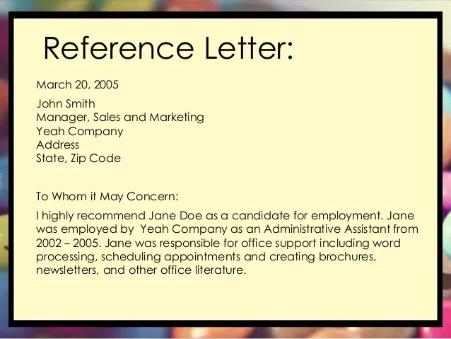 Sample Reference Letter For An Employee The Balance Letter Of Recommendation