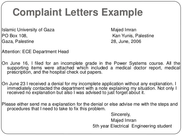Complaint Letter Example Aate Org Au This Sample Engineer Formal