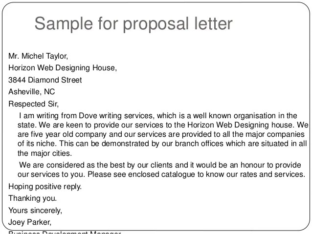 Sample Of Business Proposal Letter For Clients – Free Proposal Letter Template