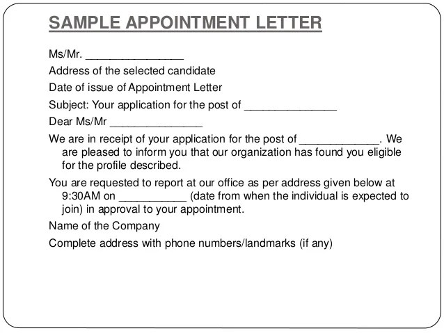 Letter for doctor appointment - sample appointment card template