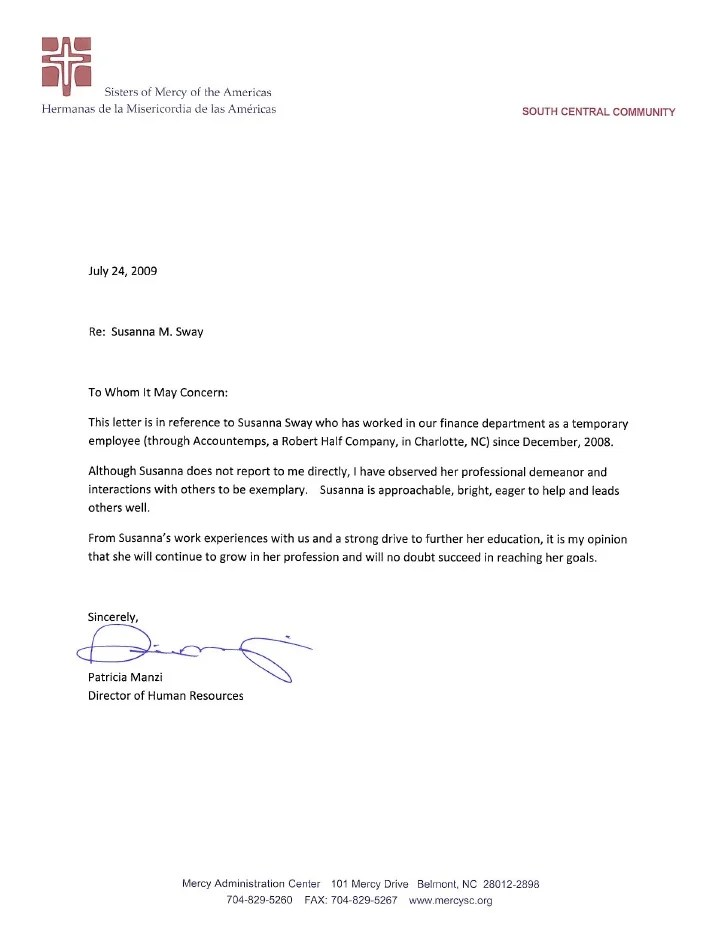 Recommendation Letter From Retail Manager  Administrative