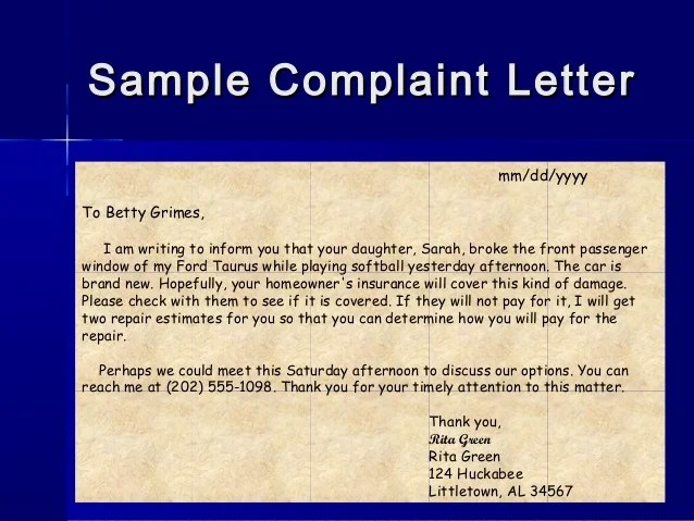 Complaint Letter Example Sample Template Writing Tips Letterwriting Ppt