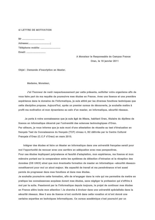 lettre de motivation pour une fac de psychologie